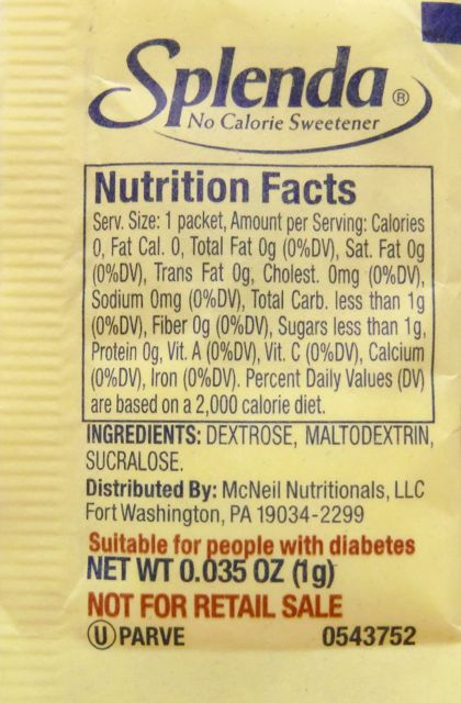 "Nutrition Facts from a package of Splenda. Notice under ingredients, there are two forms of sugar in a product that has ""zero"" calories"