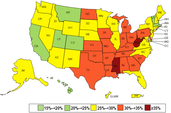 Obesity in the US is rising. The above diagram from the Centers for Disease Control and Prevention (CDC) shows the rates of obesity state by state in 2013.